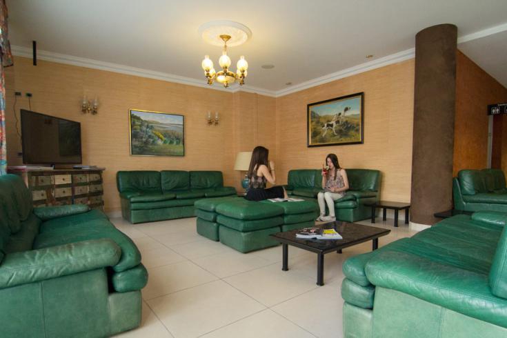 Salon avec grands fauteuils et canapés très confortables